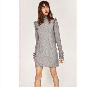 Zara gray turtleneck ruffle sweater mini dress